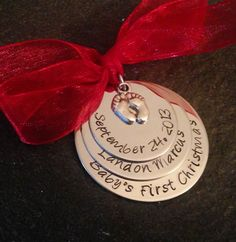Personalized Baby's First Christmas Ornament by WhirlyBirdDesigns, $20.00