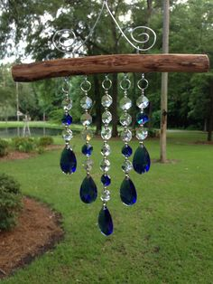 5 Strand Sapphire Crystal Suncatcher by GeorgiaSuncatchers on Etsy