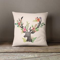 This beautiful and elegant Floral Deer Pastel throw pillow will make any space in your home look amazing. This is the perfect accessory for any couch, living room, window seat, bedroom or any other ro