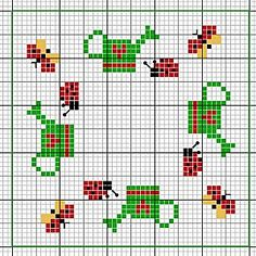 Cross-stitch Bugs biscornu ... no color chart available, just use the pattern chart as your color guide.. or choose your own colors...