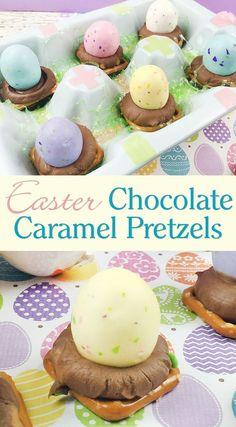 Easter Chocolate Caramel Pretzels {Recipe}