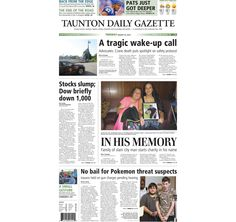 The front page of the Taunton Daily Gazette for Tuesday, Aug. 25, 2015.