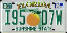 Florida State License Plates, 1969 to the present |FL 98 #I95 07W