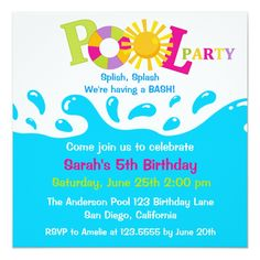 Pool party free printable party invitation template greetings water splash girl pool party birthday invitation stopboris Image collections
