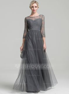 A-Line/Princess Scoop Neck Floor-Length Tulle Mother of the Bride Dress With Beading Sequins (008091943)