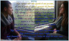 00:23 di Antonio Gianotti Non sospirare mai sullo sguardo di una passante, sul gioco di sponda di sguardi incrociati dal finestrino, con la ragazza seduta sul treno del binario parallelo. Non sospirare soffermandosi ad ogni bivio del passato, pensando a ciò che poteva essere e non è stato. Non chiedersi mai quale sarebbe stata la trama del nostro destino in un luogo appena accennato, dove il treno non ha sostato, o nelle città dai bei gerani, che mai ci hanno visto, che mai ci ved