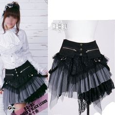 Black and White Goth Punk Clothes Knee Length Corset Skirts Women SKU-11406054