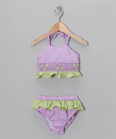 Take a look at this Purple Flip-Flop Bikini Sunsuit - Toddler & Girls by Sweet La Tea Da on #zulily today!