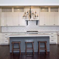 White Kitchen Grey Island grey wood floor, detail tile backsplash, stainless steelestess