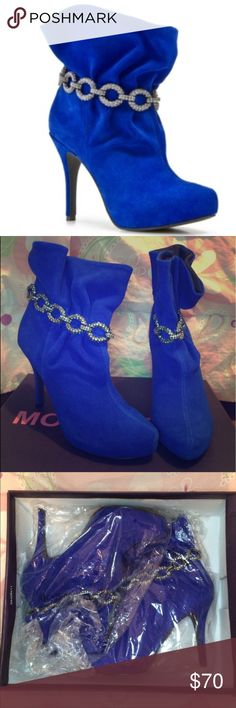 """MOJO Moxy Blue Suede Heel Booties NWT, never been worn, got them as a gift. Embellished design around ankle of booties, size 8. Style is """"KANDI"""" Blue Cow Suede. 💋♥️ Mojo Moxy Shoes Ankle Boots & Booties"""