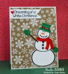 Christmas card created with the snowman2build stamp set