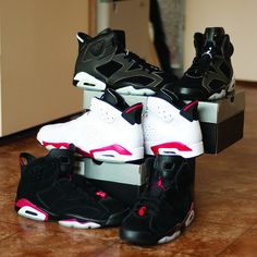 sneakers | All Air Jordan 6's. If I had to choose, I would pick the Infrareds. What is your favourite? #sneakers
