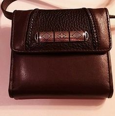 BRIGHTON Small Black Pebbled and Brown  Crossbody Wallet Organizer Two sides