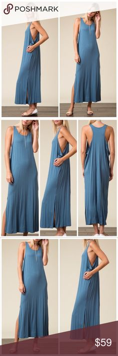 🆕The Valarie side slit racerback maxi dress This side slit, racer back maxi dress in denim blue is made with premium quality fabric made of 95%viscose and 5% spandex and has a very soft feel and flowy stretch. Featuring draped sides and side slits partially up the legs,this is a wardrobe staple for any fashionista! Pair with chunky jewelry and gladiator sandals for a day out in the sun or layer underneath a kimono for those breezy spring and summer nights! This dress has an oversized fit…