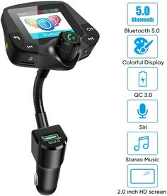 4 Music Playing AUX Input//Output with QC3.0 Fast Charging LoHi Bluetooth FM Transmitter for Car Wireless Radio Adapter Hands-Free Kit 2.0/'/' Color User Interface Display 6 EQ Mode