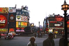 Piccadilly Circus in London, 1962 (main article at http://en.wikipedia.org/wiki/Piccadilly_Circus )
