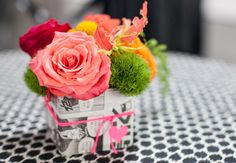 ikat dot table cloth and comic jar wrappers (a better pop art wedding theme)