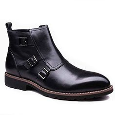 Genuine Leather Men Monk strap boots Zip Buckle Formal Business Chelsea Shoes