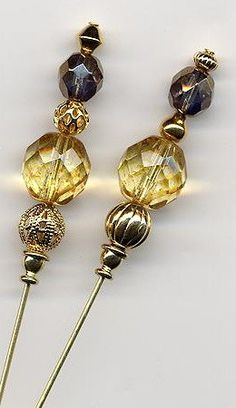Czech Tortoise Brown and Round Glass Beads Hatpins (Hat Pins)
