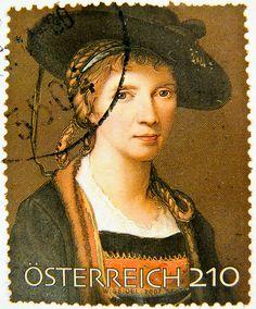 Stamp - Austria 2.10  Angelika Kauffmann (Austrian-Swiss neoclassical paintress 1741-1807, self portrait)