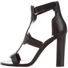 Pre-owned Balmain Leather Cage Sandals ($475) ❤ liked on Polyvore featuring shoes, sandals, black, leather shoes, velcro strap shoes, balmain sandals, black cage shoes and caged shoes