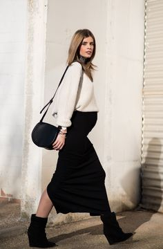 Gently used designer maternity brands you love at up to - Chic Maternity Street Looks - Winter Maternity Outfits, Stylish Maternity, Maternity Wear, Maternity Fashion, Maternity Styles, Pregnancy Fashion, Summer Outfits, Maternity Swimwear, Black Outfits
