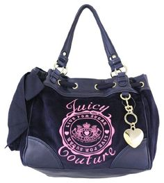 $189.99-$198.00 Juicy Couture Live For Suger Daydreamer Purse Bag Tote - Regal navy blue velour fabric with pink embroidered Juicy Couture Live for Sugar logo on the front.  Gold tone hardware including Juicy Couture embossed in gold and a gold tone crown logo button on the front leather patch.