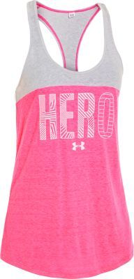 Step forward, put on this tank and call yourself what you are! The Under Armour Women's Power in Pink Hero Tanktop is part of the Power In Pink program and a portion of all proceeds are donated to national breast-cancer charities and medical centers.