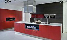 German Modern Kitchen in red finish