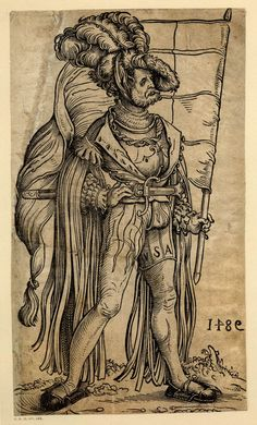 A standard bearer; WL figure, turned to r; from a series of fifty lansquenets; sheet made up along the l edge.  c.1525-30  Woodcut