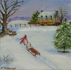 """Following Footsteps in the Snow"" by Nuala Holloway - Oil on Canvas #Snow #Christmas #IrishArt"