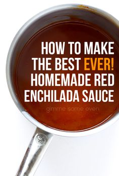 Enchilada Sauce This enchilada sauce was INCREDIBLE and so easy to make. never going back to canned enchilada sauce! LMThis enchilada sauce was INCREDIBLE and so easy to make. never going back to canned enchilada sauce! Recipes With Enchilada Sauce, Red Enchilada Sauce, Sauce Recipes, Great Recipes, Cooking Recipes, Favorite Recipes, Homemade Enchilada Sauce, Recipes Dinner, Pasta Recipes