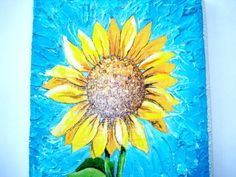 A Sunflower Decoupage Acrylic Painting on Wood Plaque by Krassim