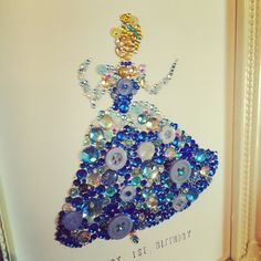 Handmade Disney Cinderella  Swarovski crystal / button frame.  Easy order, see board description.