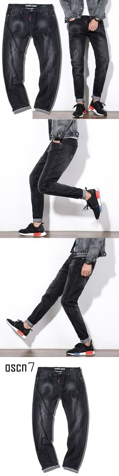 OSCN7 Black Men Jeans Plus Size Loose Casual 2017 Brand Ripped Jeans Mens Mens Harem Jeans Pants 5XL