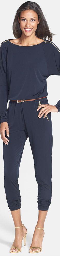 MICHAEL Michael Kors ● Belted Zip Sleeve Jersey Jumpsuit