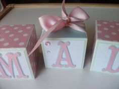 Wooden Name Blocks  Baby Name Blocks  Pink  Polka by bitsyblocks