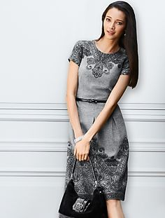 Talbots - Border Paisley Flannel Dress | Dresses | Woman I would wear this with tall black boots a nice coat and accessories;-)
