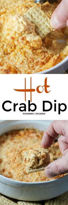 Hot Crab Dip by Noshing With The Nolands is the perfect appetizer for any occasion! An easy to make crowd pleaser you can prepare ahead of time!