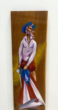 Don Quijote al oleo sobre madera de Puerto Rico