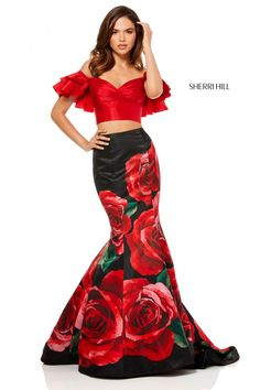 Trendy Sherri Hill 52470 two piece prom dress with ruffle off the shoulder sweetheart top and mermaid skirt. Shop at Prom Headquarters for printed prom dresses. Grad Dresses Short, Floral Prom Dresses, Sherri Hill Prom Dresses, Dresses For Teens, Formal Dresses, Summer Dresses, Dress Prom, Buy Dress, Homecoming Dresses