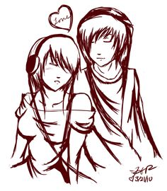drawings of couples   emo couple by strawberry-eater