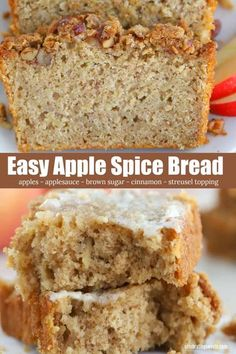 This delicious APPLE BREAD is filled with brown sugar, apples, and warm spices. Perfect for fall! #applebread #quickbread #applerecipe #fallbaking Bread Maker Recipes, Easy Bread Recipes, Pastry Recipes, Apple Recipes, Baking Recipes, Snack Recipes, Dessert Recipes, Apple Desserts, Banana Bread Recipes
