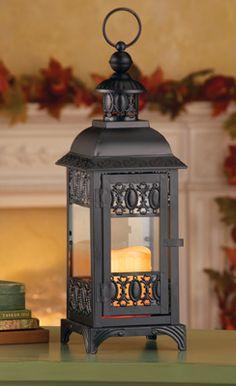 Black Metal LED Flameless Candle Lantern