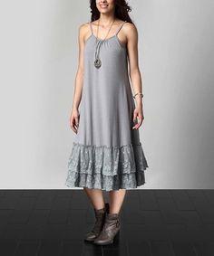 Look what I found on #zulily! Gray Lace Slip Extender Dress - Plus #zulilyfinds