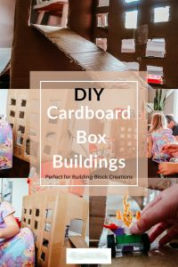 DIY cardboard box buildings are not only super easy, but lots of fun! Great activity for all kids, especially when you add building blocks! Box Building, Building For Kids, Crafts For Teens, Diy For Kids, Middle School Crafts, Homemade Baby Toys, Activities For Kids, Activity Ideas, Diy Cardboard