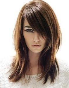 Elegant Long Shag Hairstyles Straight hair with bangs