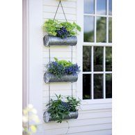 Indoor Vegetable Gardening Galvanized Hanging Triple Planter - Elevate vertical gardening to new levels of artistry, indoors or out Hanging Planters Outdoor, Vertical Wall Planters, Hanging Flower Baskets, Succulent Planters, Succulents Garden, Cactus Plants, Tomato Plants, Hanging Gardens, Succulent Wall