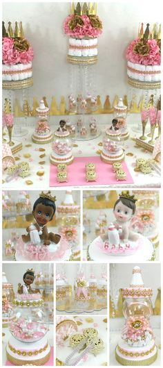 Pink and Gold Princess Baby Shower Candy Buffet Centerpiece. Perfect for Princess Baby Shower or Birthday Theme and Decorations.