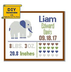 Elephant Cross Stitch Birth Announcement Cross Stitch Birth Record Cross Stitch Baby Girl Boy Pink Navy nursery jungle birth sampler  ## Please READ the entire product description below before purchasing, and contact me if you have any doubts/queries. COUNTED CROSS STITCH PATTERN (Intermediate Level) (3 Instant Download PDF files - Patterns are in both Single page and multi-page enlarged format for easy reading)  !!! IMPORTANT - READ BEFORE YOU BUY…